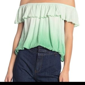 FREE PEOPLE Off Shoulder Green Ombre Flounce Top S